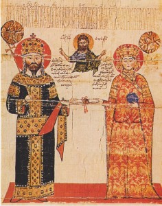 Figure 5. Alexios III and Theodora Kantakouzene from a chrysobull in the archives of the Dionysiou Monastery.